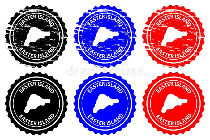 Tampon en caoutchouc d'île de Pâques illustration de vecteur