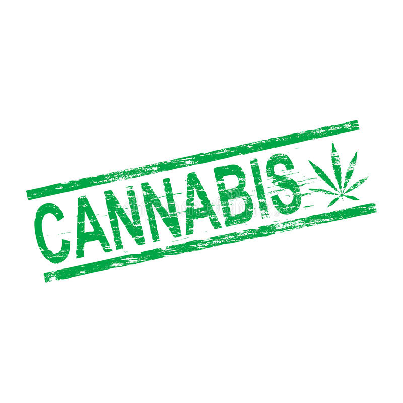 Tampon en caoutchouc de cannabis illustration stock