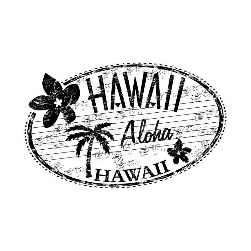 Tampon en caoutchouc de grunge d'Hawaï illustration de vecteur