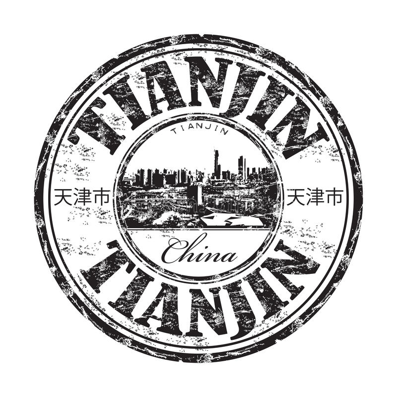 Tampon En Caoutchouc De Grunge De Tianjin Photographie stock libre de droits
