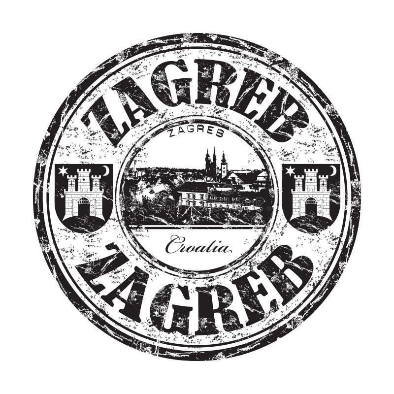 Tampon en caoutchouc de grunge de Zagreb illustration de vecteur