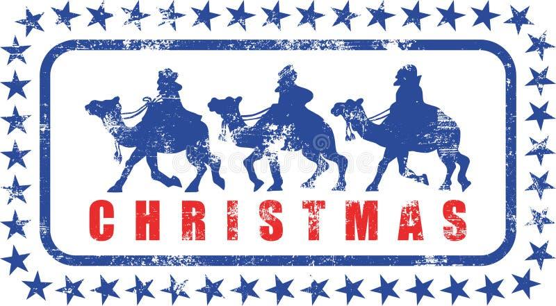 Tampon en caoutchouc de Rois mages de Noël illustration de vecteur