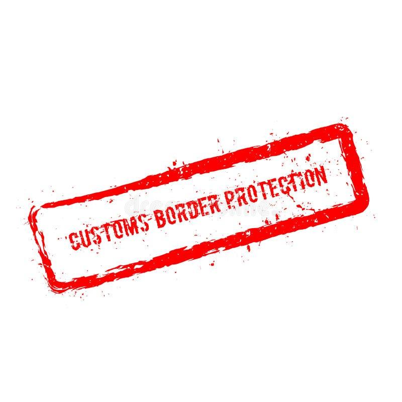 Tampon en caoutchouc de rouge de protection de frontière douanière illustration de vecteur