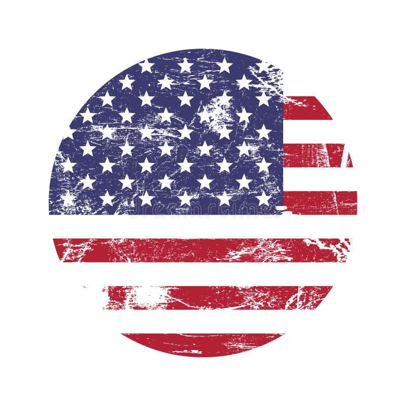 Tampon en caoutchouc grunge américain des Etats-Unis avec le drapeau des Etats-Unis, d'isolement sur le fond blanc, illustration illustration stock