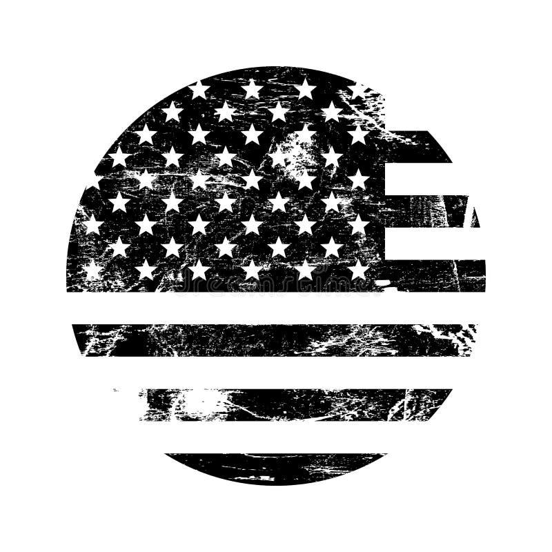 Tampon en caoutchouc grunge américain des Etats-Unis avec le drapeau des Etats-Unis, noir d'isolement sur le fond blanc, illustra illustration de vecteur