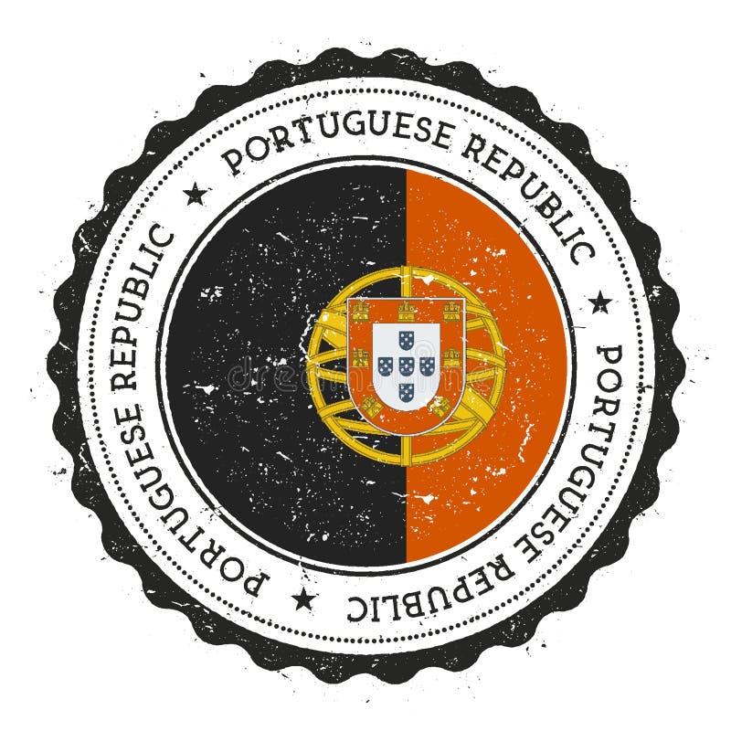Tampon en caoutchouc grunge avec le drapeau du Portugal illustration stock