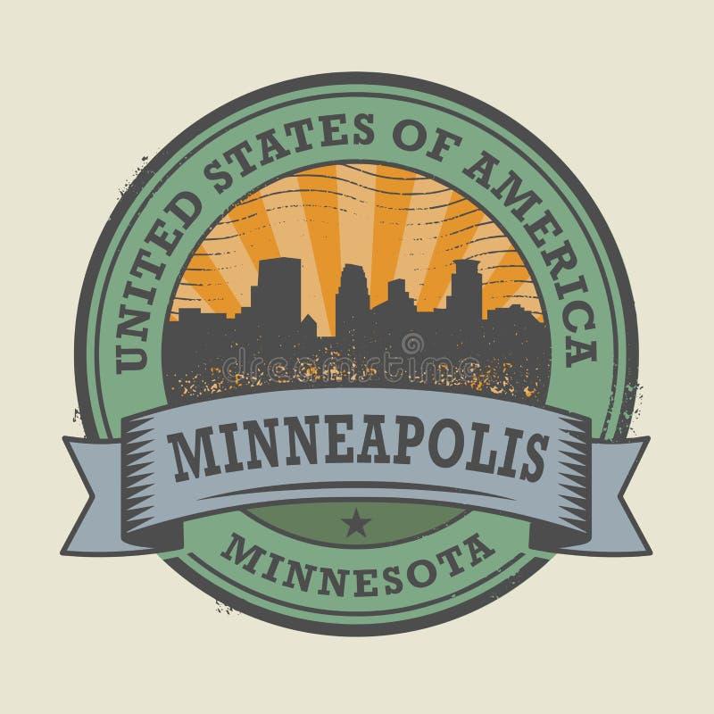 Tampon en caoutchouc grunge avec le nom de Minneapolis, Minnesota illustration stock