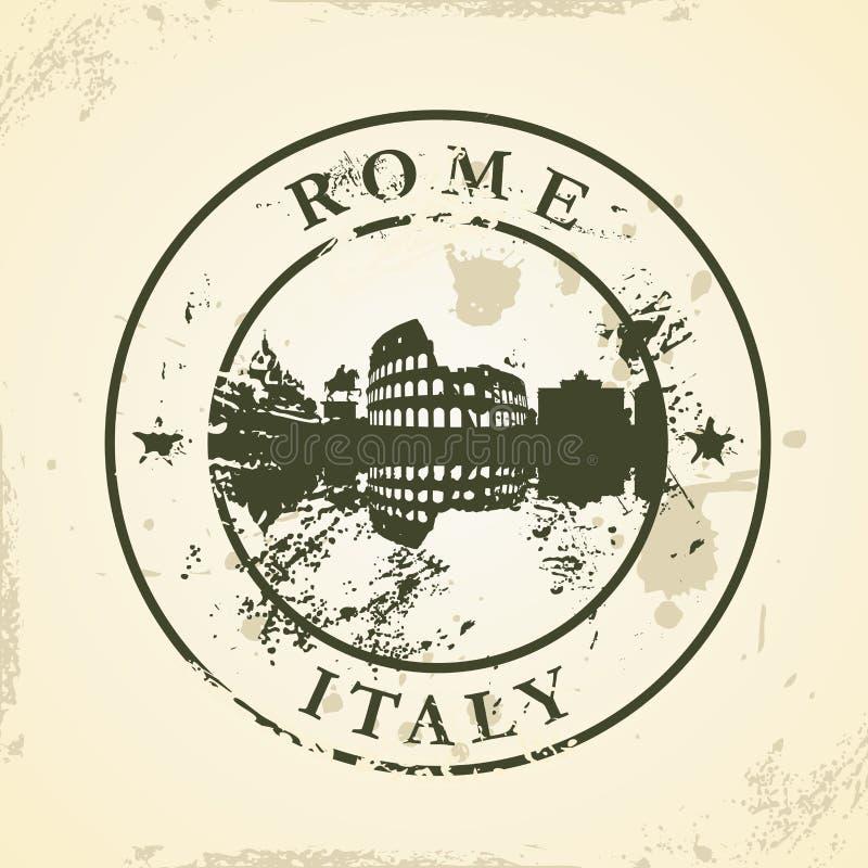 Tampon en caoutchouc grunge avec Rome, Italie illustration de vecteur