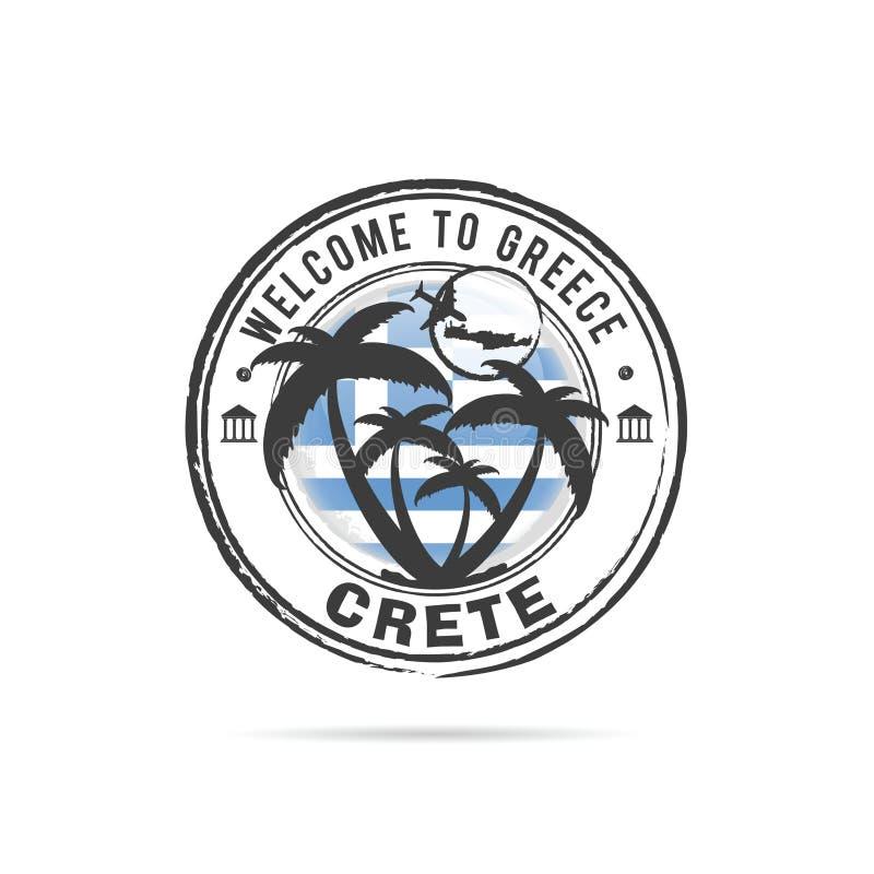 Tampon en caoutchouc grunge Crète avec l'illustration grecque de drapeau et de paume illustration stock