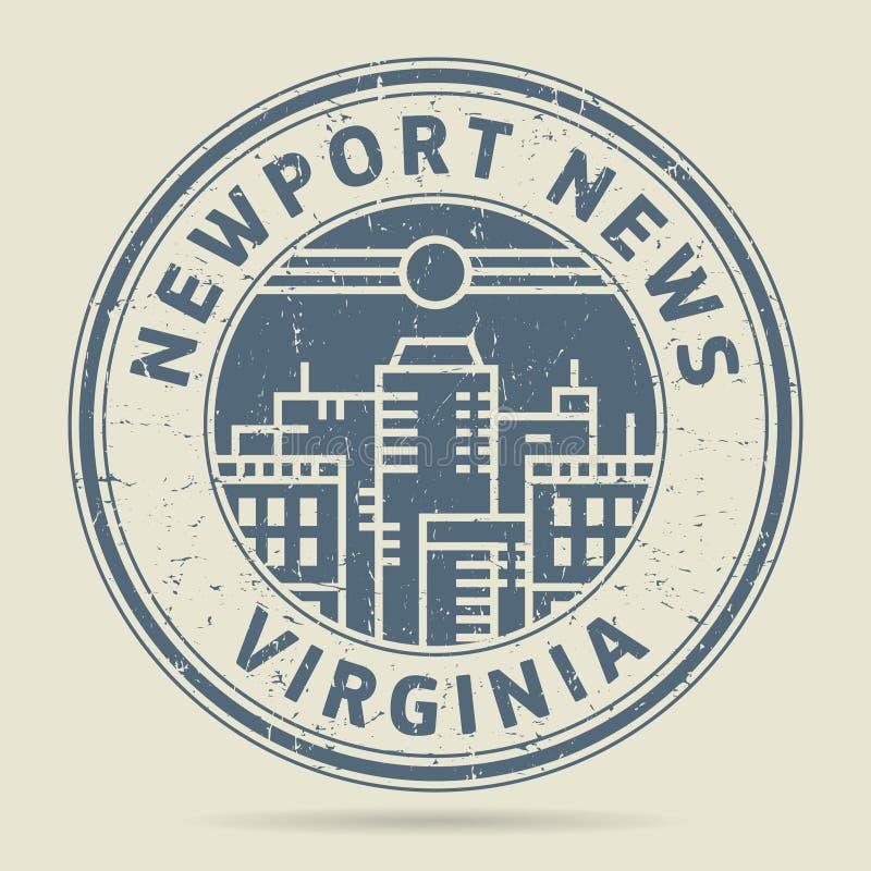 Tampon en caoutchouc grunge ou label avec des actualités de Newport des textes, la Virginie illustration stock