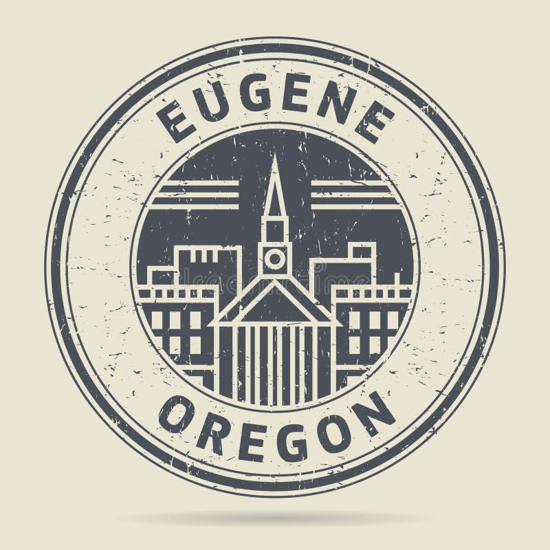 Tampon en caoutchouc grunge ou label avec le texte Eugene, Orégon illustration libre de droits