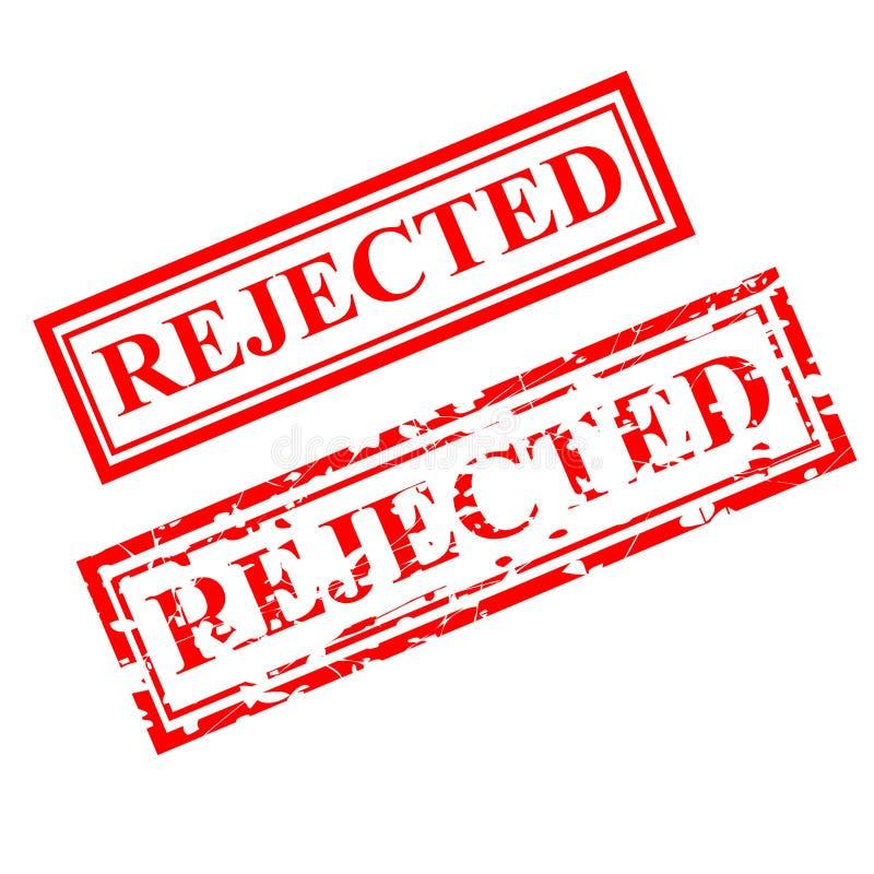 Tampon en caoutchouc rejeté et rouge, offre de proposition de document connexe, d'isolement sur le blanc illustration de vecteur
