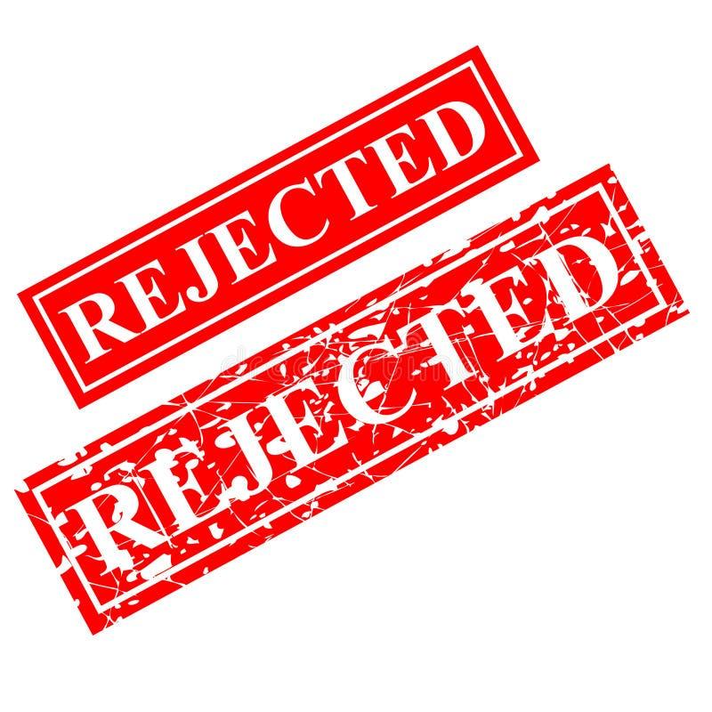 Tampon en caoutchouc rejet? et rouge, offre de proposition de document connexe, d'isolement sur le blanc illustration stock