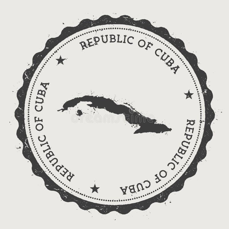 Tampon en caoutchouc rond de hippie du Cuba avec la carte de pays illustration de vecteur