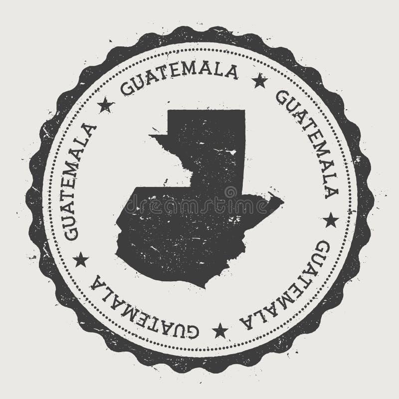Tampon en caoutchouc rond de hippie du Guatemala avec le pays illustration stock