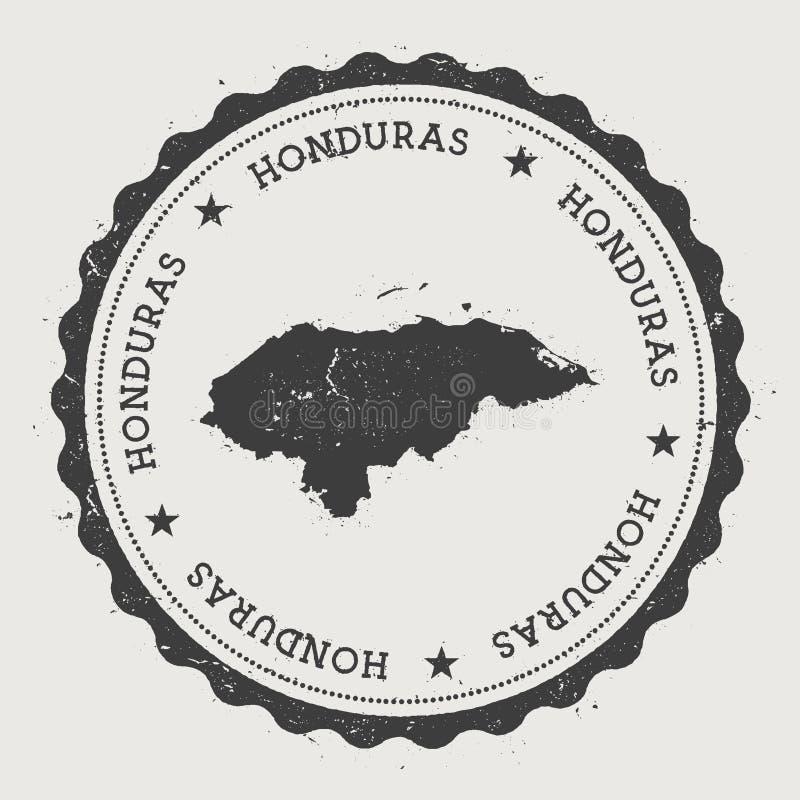 Tampon en caoutchouc rond de hippie du Honduras avec le pays illustration de vecteur