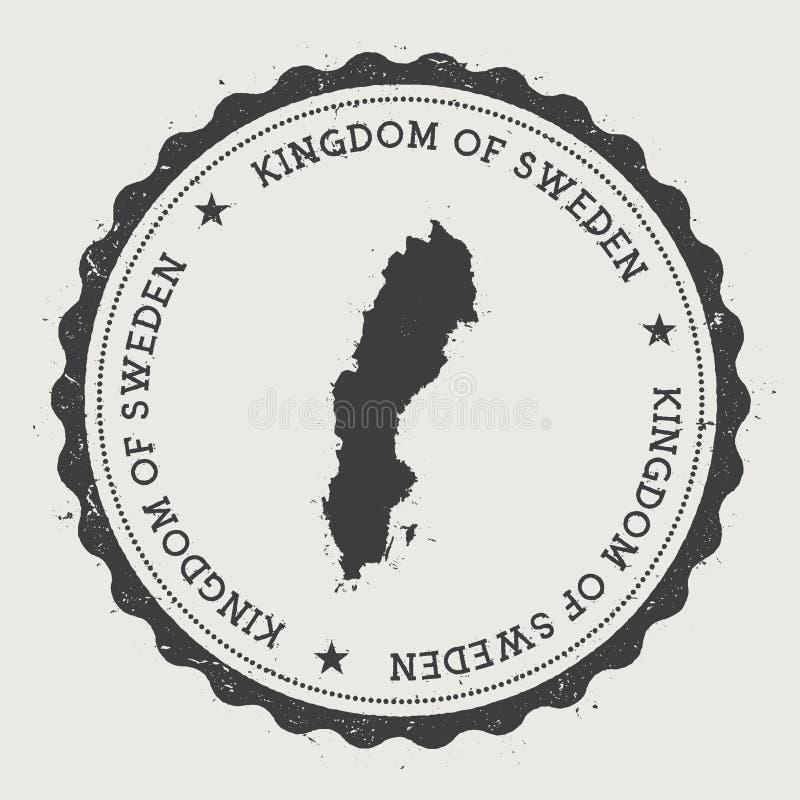 Tampon en caoutchouc rond de hippie de la Suède avec le pays illustration libre de droits