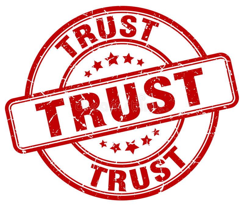 tampon en caoutchouc rond grunge rouge de confiance illustration libre de droits
