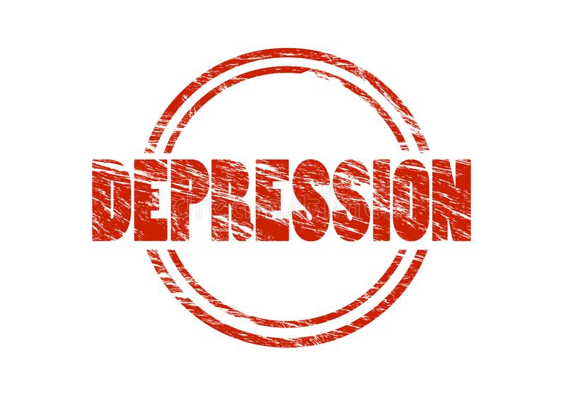 Tampon en caoutchouc rouge de vintage de dépression d'isolement sur le fond blanc photos libres de droits