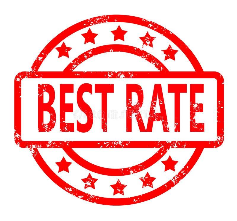 Tampon en caoutchouc rouge du meilleur taux sur le fond blanc Timbre du meilleur taux illustration stock