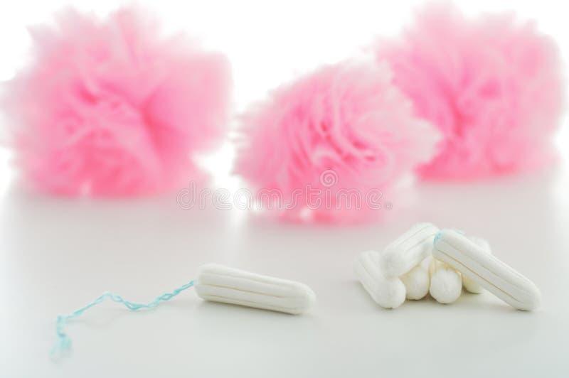 Tampon i sanitarne pieluchy na białym tle kobiecy hygien obraz royalty free