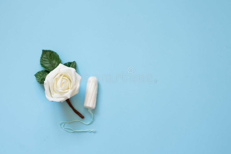 Tampon menstrual cotton pads on blue background with white flower . woman health. / copy space stock images
