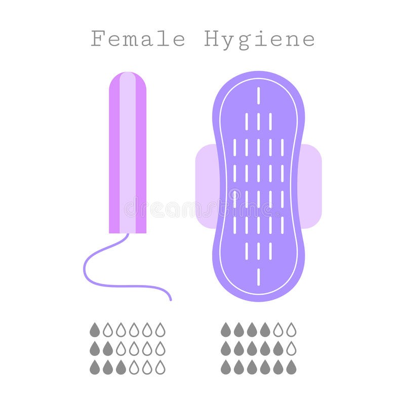 Tampon and strip, flat icons of feminine hygiene. Menstruation. Tampon and strip, flat icons. Feminine hygiene products. Care during menstruation vector illustration