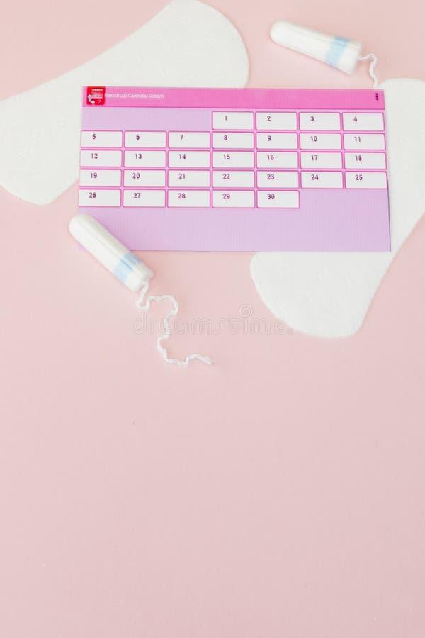 Tampon, vrouwelijke, sanitaire stootkussens voor kritieke dagen, vrouwelijke kalender, pijnpillen tijdens menstruatie op een roze stock afbeelding