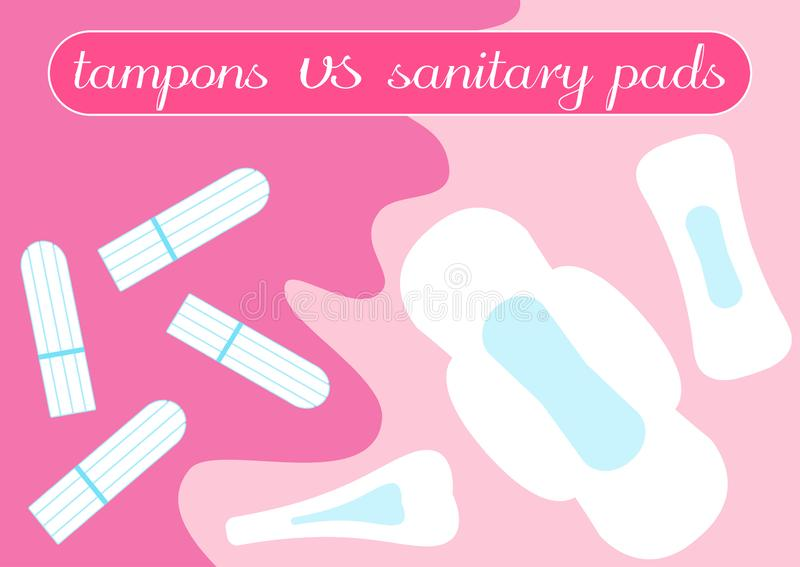 Tampon vs pads comparison. Feminine hygiene products. Illustration for your choice in bloody month period. Menstruation time, mens. Trual critical women days stock illustration