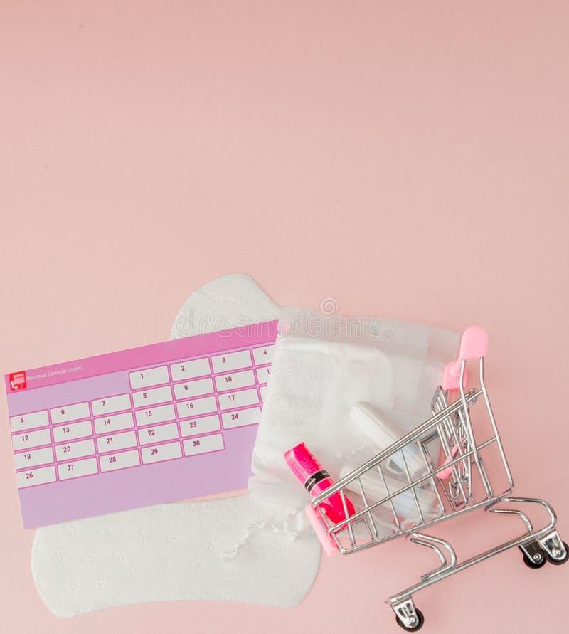 Tampon, weibliche, gesundheitliche Auflagen f?r kritische Tage, weiblicher Kalender, Schmerzpillen w?hrend der Menstruation auf e lizenzfreie stockbilder