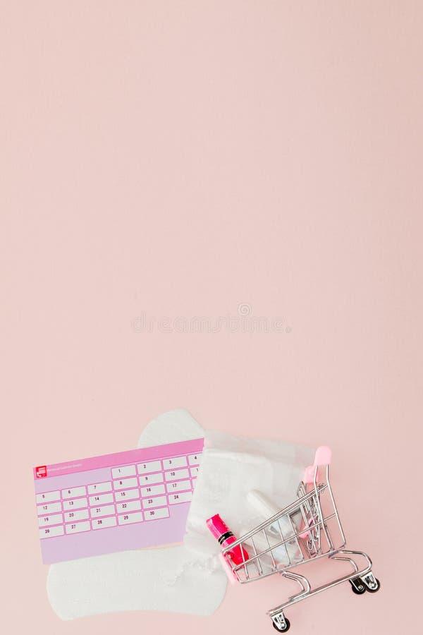 Tampon, weibliche, gesundheitliche Auflagen f?r kritische Tage, weiblicher Kalender, Schmerzpillen w?hrend der Menstruation auf e stockfotos