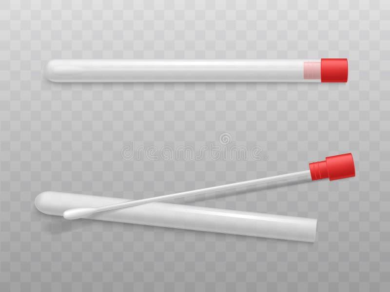 Tampons de coton de laboratoire avec le vecteur stérile de tubes illustration stock