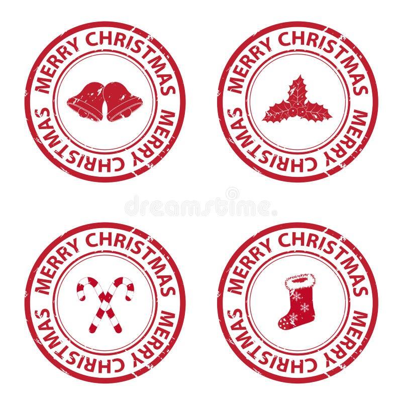 Tampons en caoutchouc de Noël illustration de vecteur