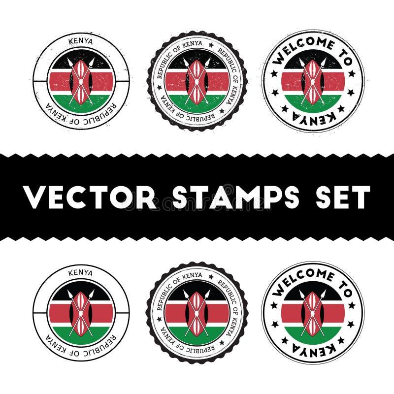 Tampons en caoutchouc kenyans de drapeau réglés illustration de vecteur