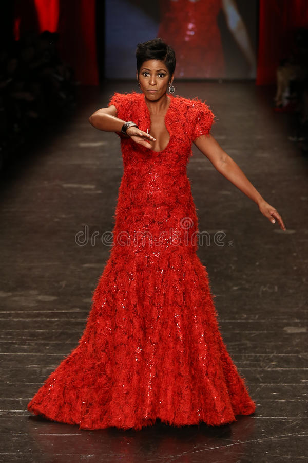 Tamron Hall. NEW YORK-FEB 11: Tamron Hall wears Marc Bouwer at Go Red for Women Red Dress Collection 2016 Presented by Macy's at New York Fashion Week on royalty free stock photography