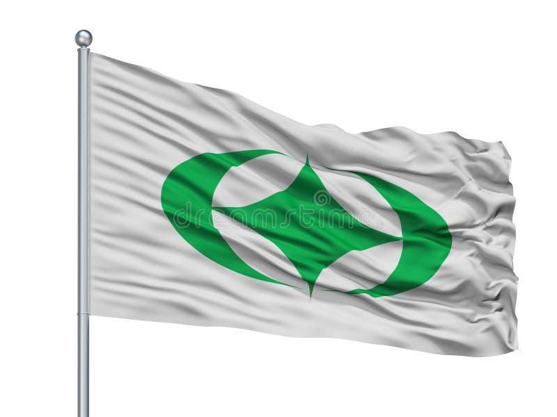 Tamura City Flag On Flagpole, Japon, Fukushima Prefecture, d'isolement sur le fond blanc illustration libre de droits