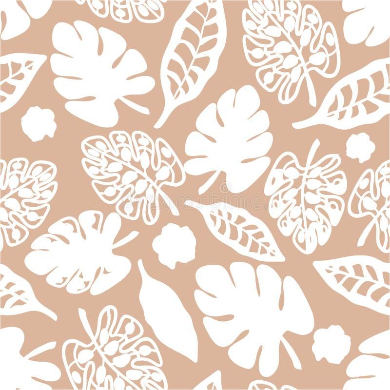 Tan和白色印刷品热带花卉样式背景传染媒介 向量例证