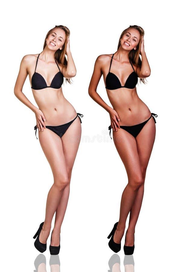 Tan before and after стоковые изображения