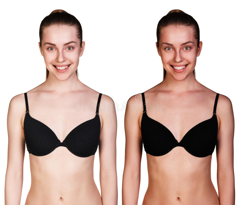Tan before and after стоковая фотография