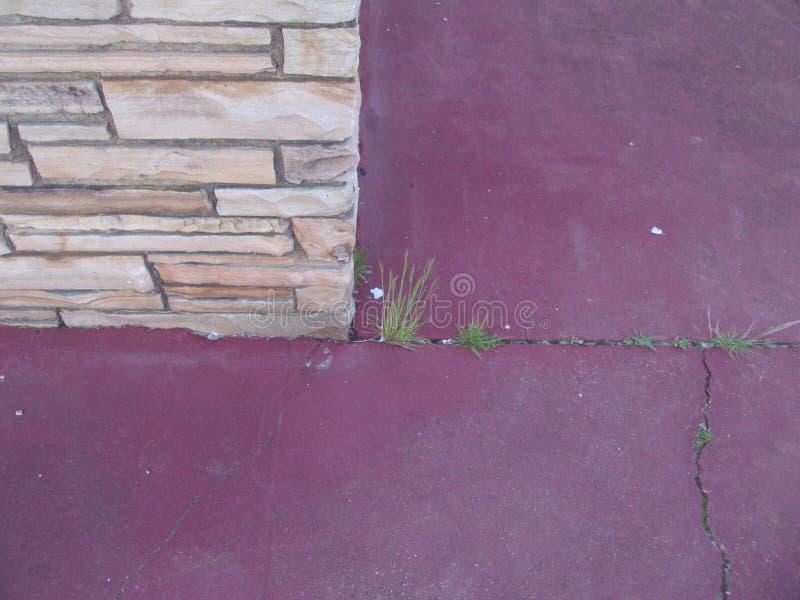 Tan blokmuur met rode concrete oppervlakte 2 royalty-vrije stock afbeelding