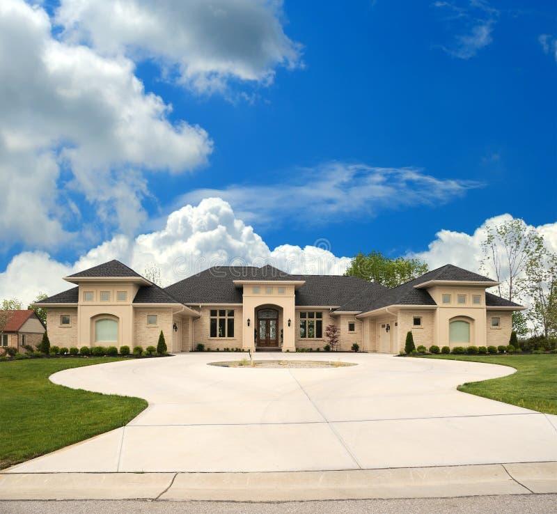 Tan Brick Upscale Suburban Home. Upscale Tan Brick Suburban Home with a Circle Drive stock images