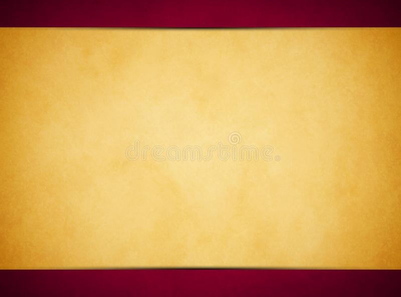 Tan parchment texture. Rich Red Header and Footer royalty free stock images