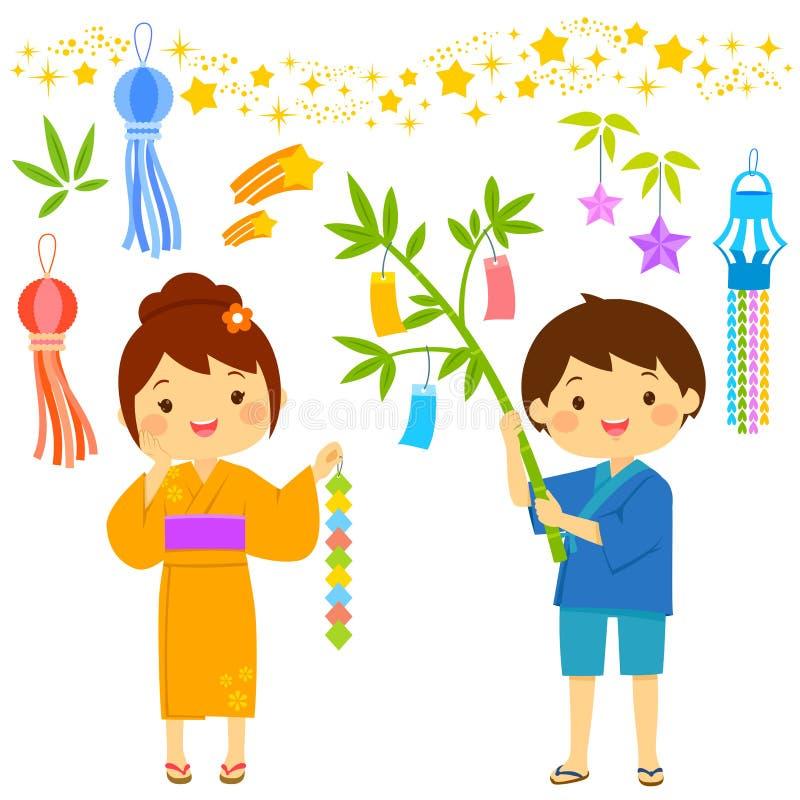 Tanabata kreskówki set ilustracji