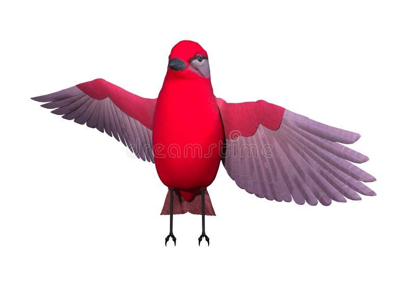 Tanager das aves canoras da rendição 3D no branco ilustração do vetor