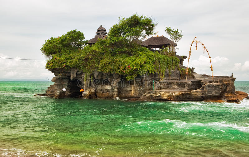 Tanah Lot temple (Pura Tanah Lot). Over ocean at Bali, Indonesia stock images