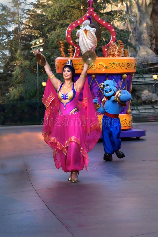 Tancerza Aladdin tancerza Arabska parada Disneyland zdjęcie royalty free