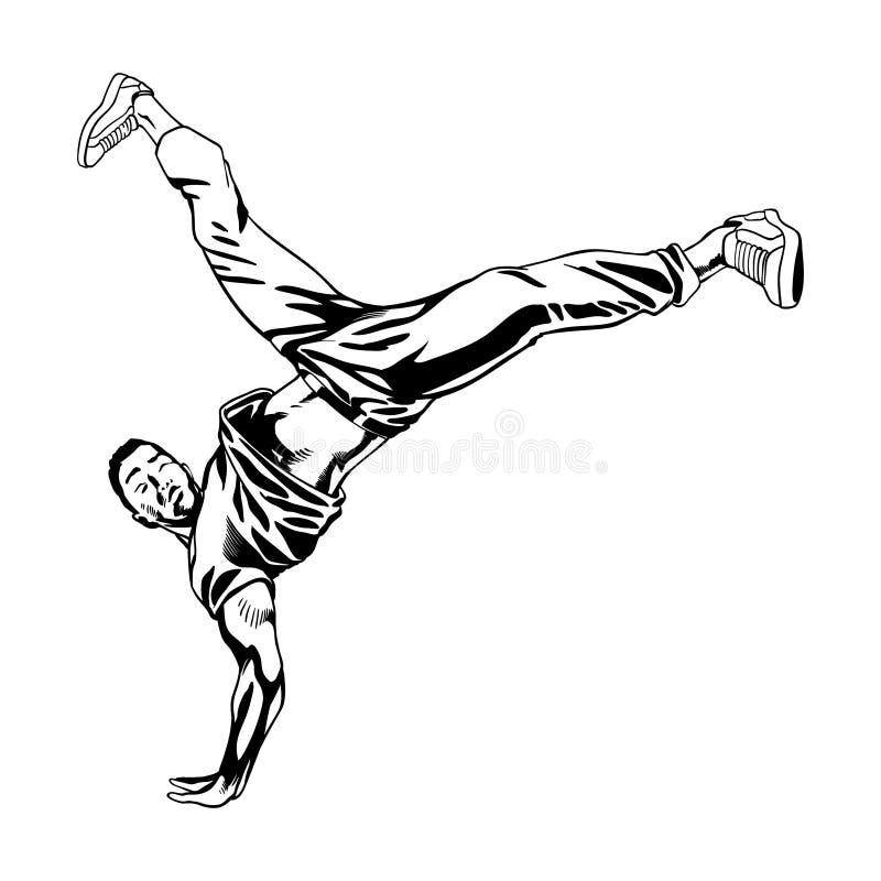 Tancerza charakter w dynamicznej pozie ilustracji