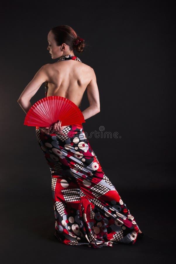 tancerza fan flamenco czerwień obraz stock
