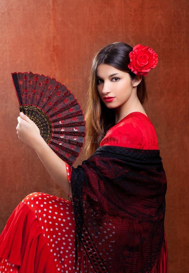tancerza flamenco cygańska dziewczyny czerwień różany Spain zdjęcia royalty free