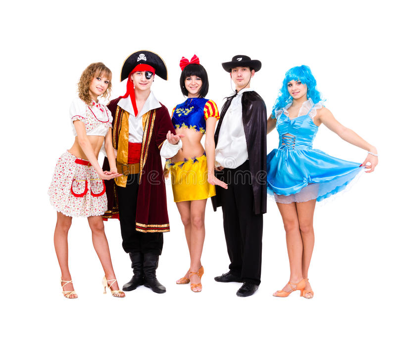 Tancerze w karnawałowy kostiumów pozować zdjęcia royalty free